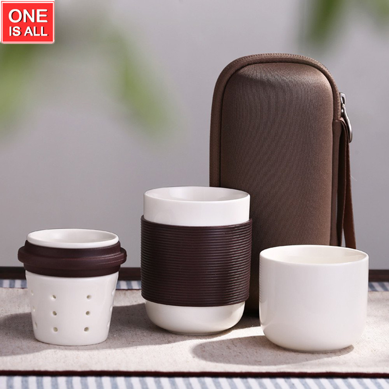 Japanese Teapot Ceramic Portable Travel Kungfu Tea Set with Infuser Teapot Set Coffee Mug Travel Bag