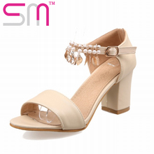 Nice Ankle Chains Women's Sandals Casual Thick High Heels Sandals Sexy Open toe Summer Dress Shoes Woman Big Size 33-43