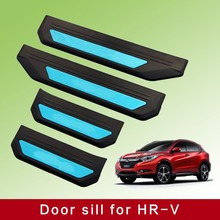 KOUVI Stainless steel LED Car Welcome Scuff Plate 4pcs/set for Honda HRV HR-V Refitting Accessories 2014 2015 2016