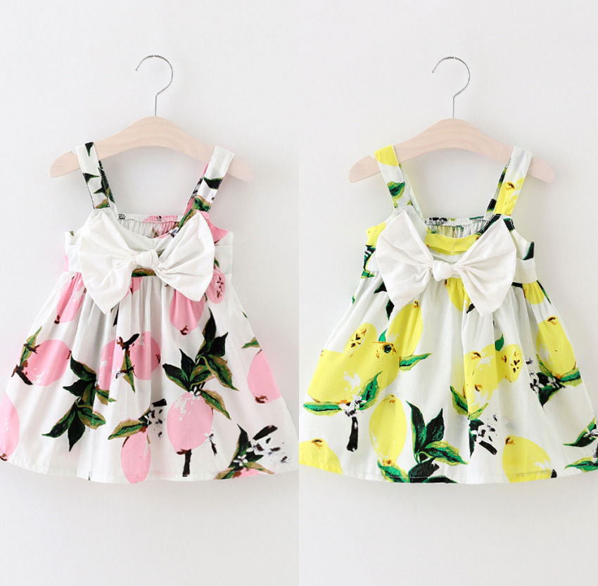 Summer Baby Girls Dress Sleeveless Floral Lemon Bowknot Sundress Clothes Girls Dress 0-2Y