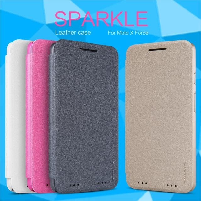 Nillkin Sparkle Series Luxury PU Leather Flip Case For Moto X Force /Droid Turbo 2/XT1585/XT1581 Hard Plastic Back Cover Cases