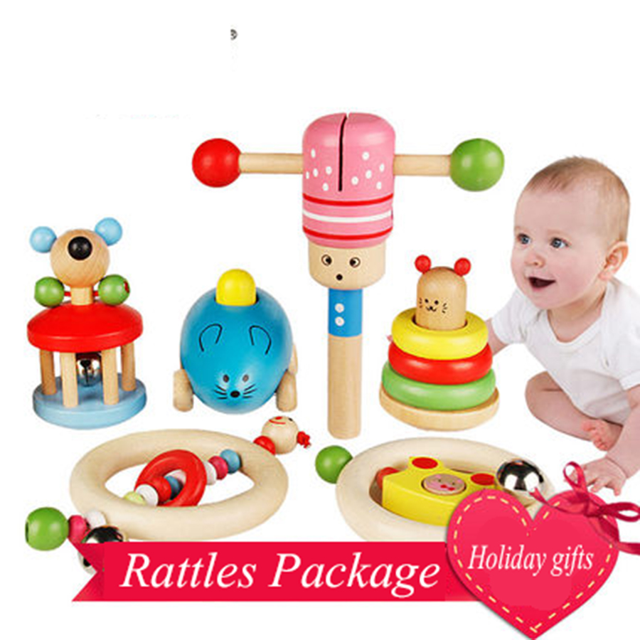 Wooden Rattle Set Baby Toys Gift 0-12 Months Oyuncak Fun Educational Toys Baby Children Kids Rattles Mobility On The Bed 70C0130