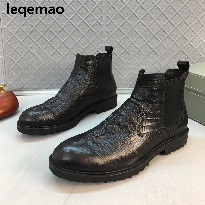 Leqemao brand Fashion black crocodile style mens motorcycle boots genuine leather thick sole heighten men shoes Size38-44 maden brand 2017 ner fashion brown men boots comfortable high quality leather boots british style heighten tooling boots
