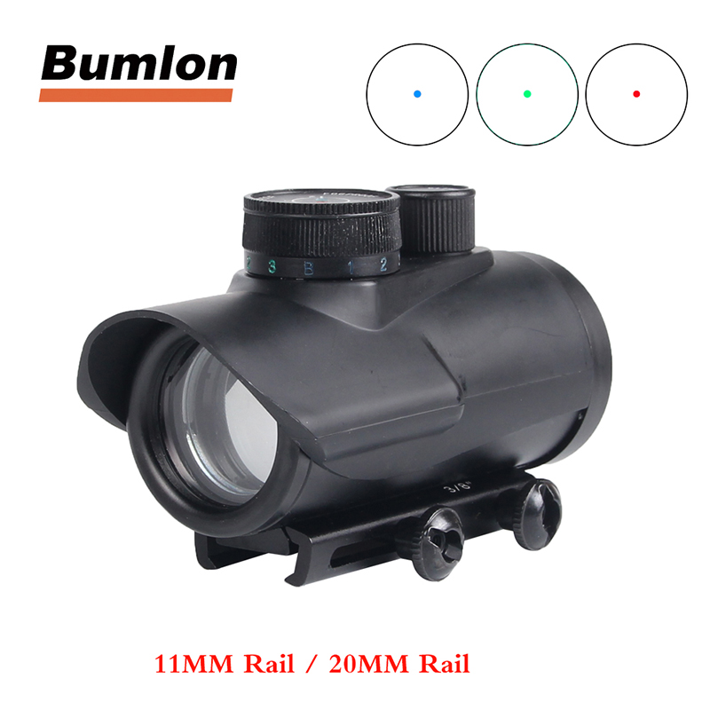 Red Green Blue Dot Sight 1x30MM With 11 Brightness Adjustment Fit 11mm & 20mm Rail Mount For Tactical Hunting Airsoft 5-0040-2