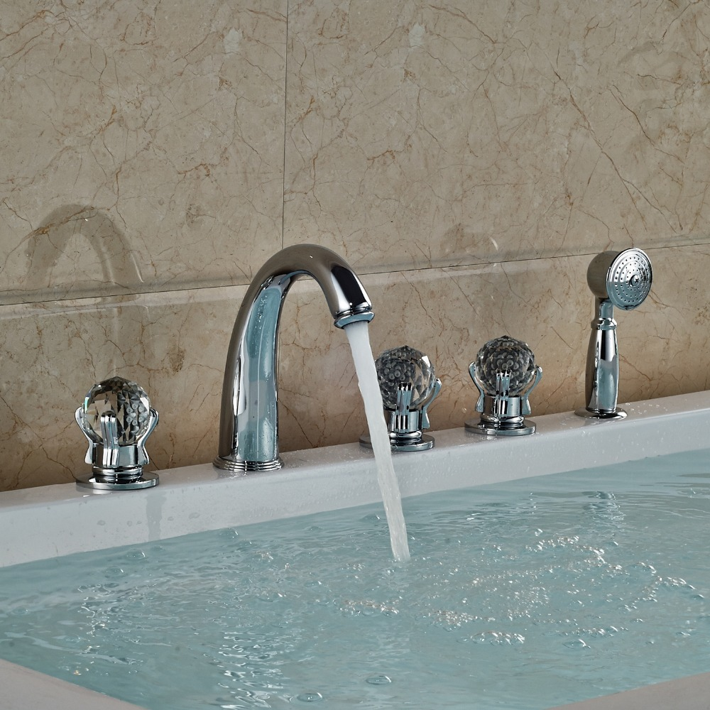 Chrome Finished Deck Mounted Bathtub Faucet 5 Holes Mixer Tap With Brass Hand Shower