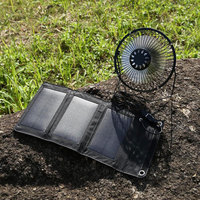5W 6.5V Solar Panel + Fan Foldable Vehicle Universal 5W 6.5V Cell Solar Panel +Fan Battery Charger Waterproof USB Port