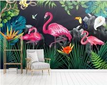 Beibehang Custom 3D Wallpaper Hand-painted Rainforest Flamingo Landscape Art Mural Children Room Photo 3d wallpaper papel tapiz