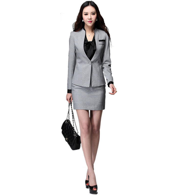 b7055b040 Office Uniform Designs Women Skirt Suit 2019 Ladies Professional Formal  Business Womens Suits Blazer with Skirts Jacket Set Grey