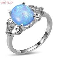 Weinuo Blue Fire Opal Biały Kryształ Pierścień 925 Sterling Silver Top Quality Fancy Biżuteria Wedding Ring Rozmiar 5 6 7 8 9 10 11 A434