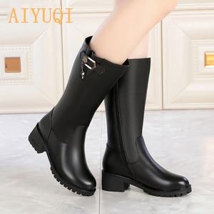 Image 4 - AIYUQI kobiety wełniane śniegowce 2020 kobiet prawdziwej skóry kobiet zimowe buty zimowe duże rozmiary 41 42 kobiet rycerz buty buty