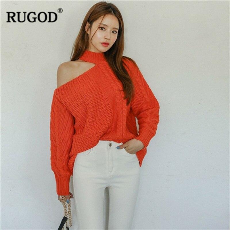 RUGOD Sweater Women One Shoulder Turtleneck Knitted Twist Sweater Female Casual Pullover Streetwear Women Jumper Sweaters 2019