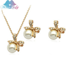 Gold Plated Rhinestone Crystal Cute Lovely Beads Bowknot imitation pearl Jewelry Sets Wholesales Fashion Jewelry for women Z1289