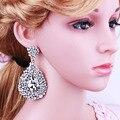 Joyería de moda Elegante de la Hoja En Forma de Pendientes de Gota de Cristal Caliente Rhinestones Pendientes para Las Mujeres Del Banquete de Boda