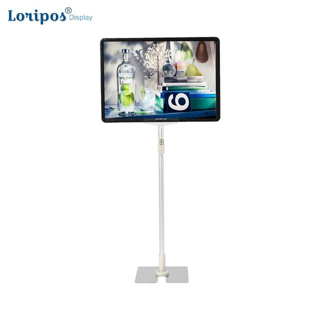 Fashion Stainless Steel Pop Advertising Poster Display Stand Rack A4 Frame Price Tag Sign Label Promotions Card Showing Holder