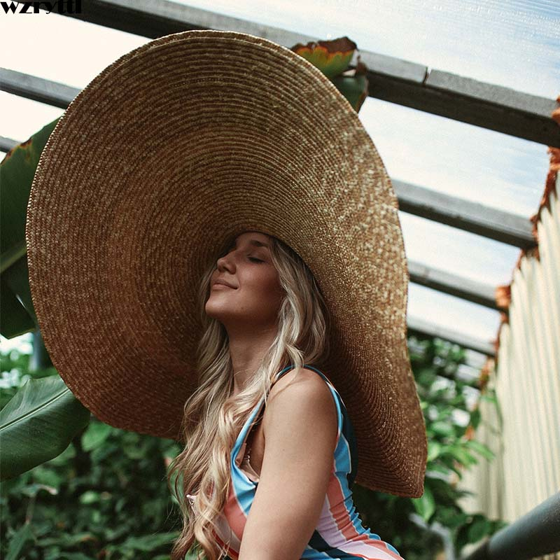 Free Shipping Handcrafted Extra Large Wheat Straw Hat Floppy Wide Brim Beach Hat Women Sun Hat Kentucky Derby Grand chapeau-in Men's Sun Hats from Apparel Accessories