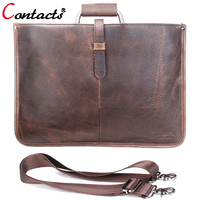 CONTACT S Brand Crazy Horse Leather Men Bag Male Shoulder Crossbody Messenger Bags Handbags Made Of