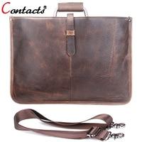 CONTACT S Brand Crazy Horse Leather Men Bag Male Shoulder Crossbody Messenger Bags Handbags Made Of