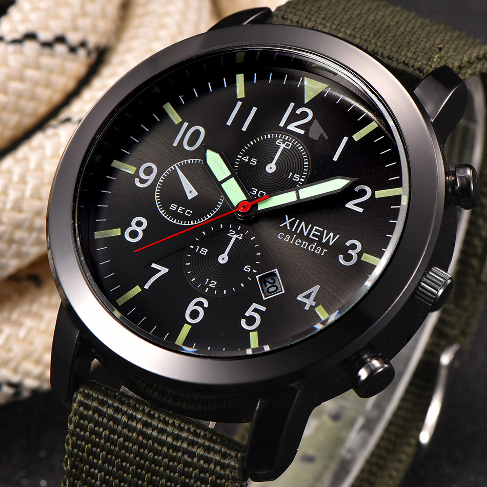 XINEW Canvas Calendar Watch Mens Military Quartz Army Watch Black Dial Date Luxury Sport Wrist Watch erkek kol saati купить