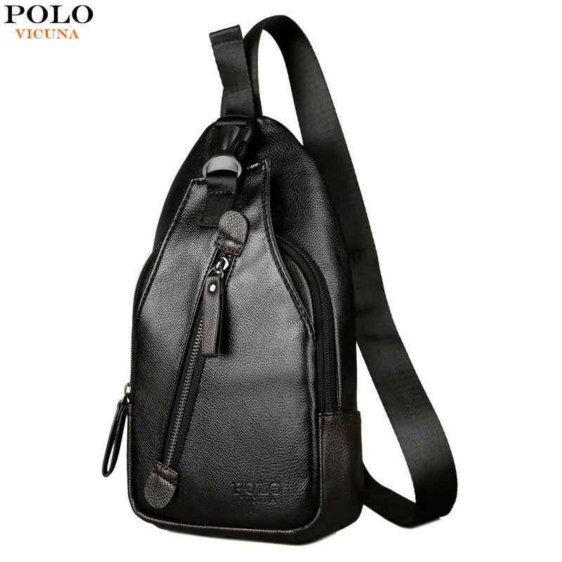 d76bd7644b8 VICUNA POLO Button Open Leather Men s Chest Bag Casual Crossbody Bag Travel  Chest Pack Mens Day