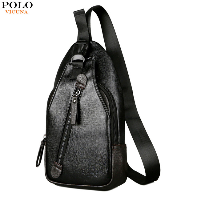 ffad8f7dce VICUNA POLO Button Open Leather Men s Chest Bag Casual Crossbody Bag Travel  Chest Pack Mens Day Pack Messenger Shoulder Bag Male