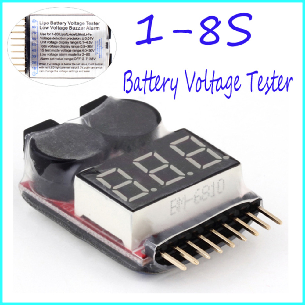for 1-8S Lipo/Li-ion/Fe RC helicopter airplane boat etc Battery Voltage 2IN1 Tester Low Voltage Buzzer Alarm Indicator checker  цены