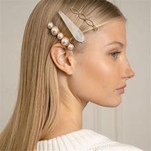 Fashion Korean 1 Set Metal Pearl Barrette Hair Clip Acrylic Teardrop Hairpins Hairgrip for Women Girls Accessories Gifts