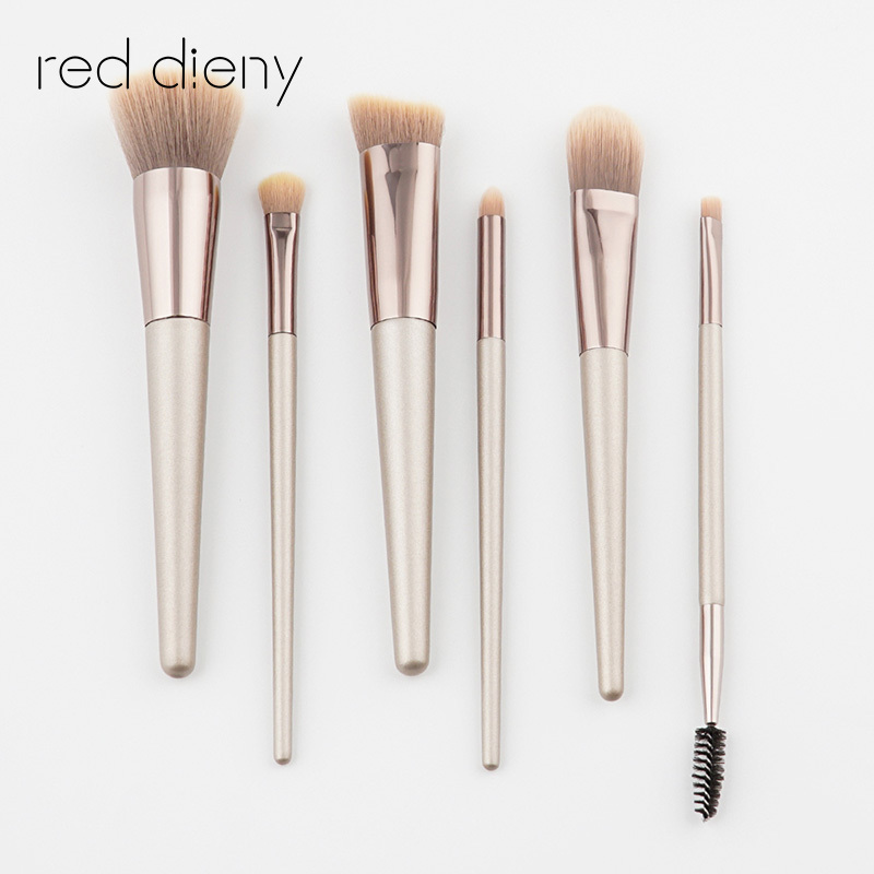 6 pcs Champagne Gold Professional Soft Cosmetic Eye Eyebrow Shadow Makeup Brush Set Tool Kit pinceles de maquillaje shoushoulang w211 professional makeup brush squirrel hair eye shadow brush ebony handle cosmetic tool eye shader make up brush