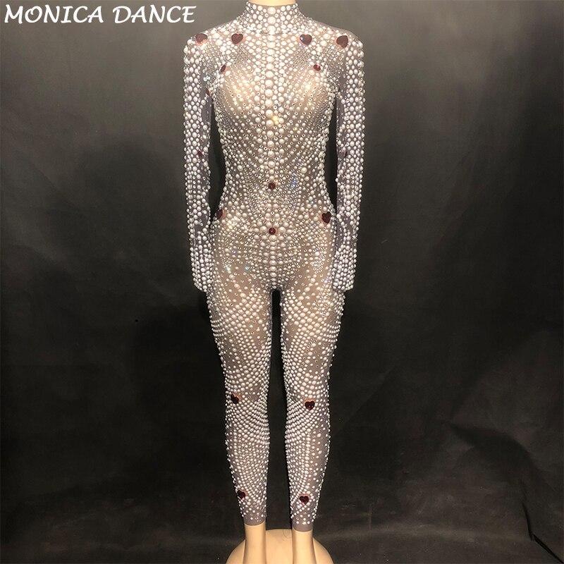 Для женщин сексуальная сцена на сверкающем высоком Класс комбинезон чистой пряжи полный Стекло сверкающие кристаллы жемчуг Боди для ночно