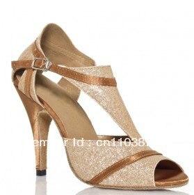 Free Ship Gold Glitter Ladies Party Ballroom Latin Dance Shoes Wedding Prom Dance Shoes Salsa Latin Dancing Shoes Tango Shoes