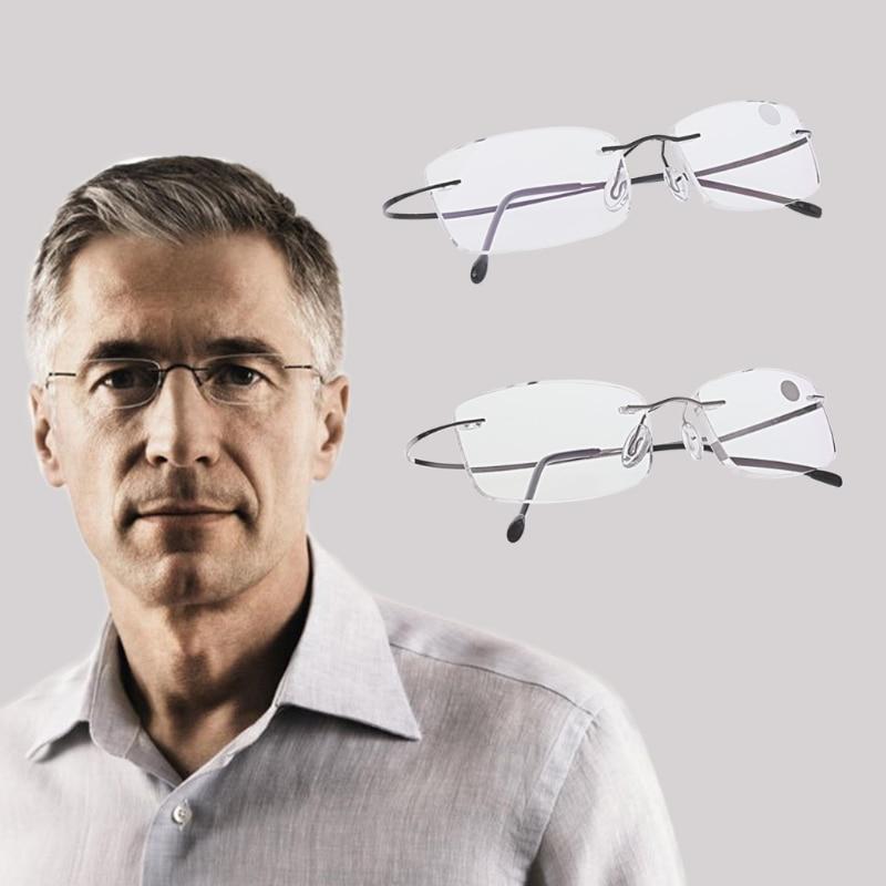Spectacles Eyeglass Frame Eyewear Ultralight Titanium Rimless Rectangular Glasses