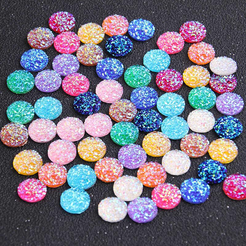 Nueva moda 40 piezas 12mm colores mezclados estilo mineral Natural cabujones de resina plana trasera para pulsera pendientes Accesorios