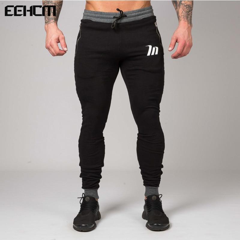 Eehcm Мода 2017 новые Брюки для девочек Для мужчин тренажерные залы Костюмы Для мужчин бегунов Панталон Homme тренажерные залы профессионального бодибилдинга Sweatpant