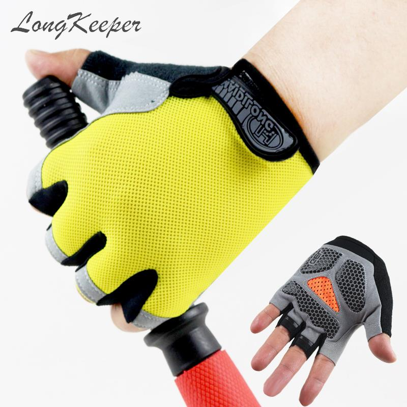 LongKeeper M/L/XL Summer Half Finger Gloves Men Women Fitness Gym Breathable Mittens Muti-color Anti-slip Hot Luvas Guantes