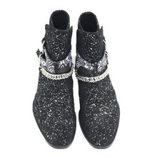 Sequin Buckle Men Ankle Boots Pointed Toe Genuine Leather Punk Botas EU 38-45  Autumn Winter Chains Strap Man Boot genuine leather shark lock boot pointed toe black leather buckle strap winter booties height increasing wedge ankle boots