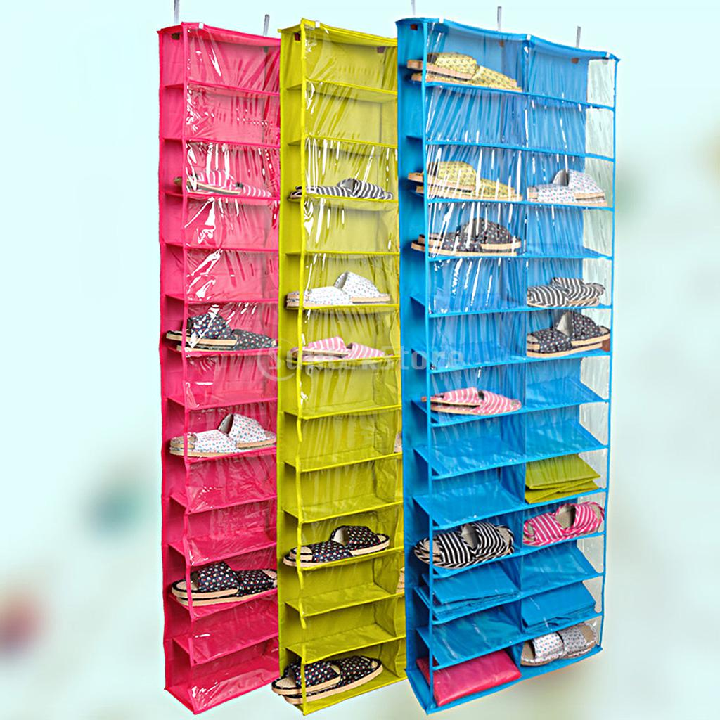 26 pockets over the door shoe organizer space saver rack hanging storage tidy 3 colors in - Shoe organizer for small space paint ...