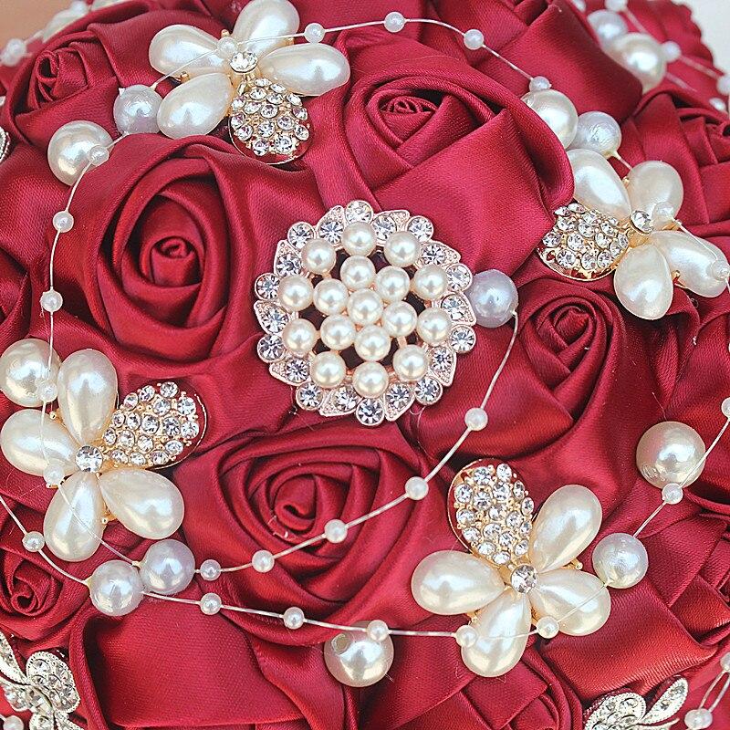 IMG_8274_  WifeLai-A Manufacturing facility Sale Wine Purple Shade Bride Bouquet Marriage ceremony Flowers de noiva Uncooked Shade Pearl Silver Diamond Beaded 18cm W251 HTB1rLRVRXXXXXckaXXXq6xXFXXXU