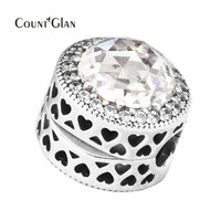 Fits Bracelet Charms DIY Beads For Jewelry Making Radiant Hearts And Clear CZ Clip Beads Genuine