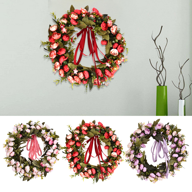 Artificial Plant Flowers Wreaths Fake Mogra Leaves Garland Wedding ...