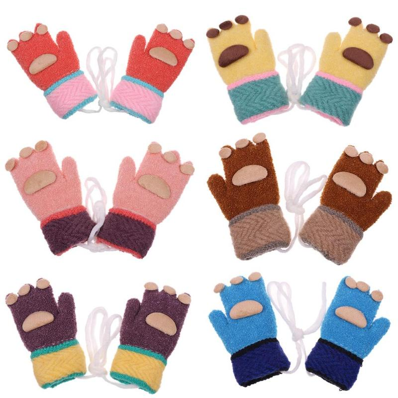 1 pair cute kids winter warm gloves baby boys girls fleece. Black Bedroom Furniture Sets. Home Design Ideas