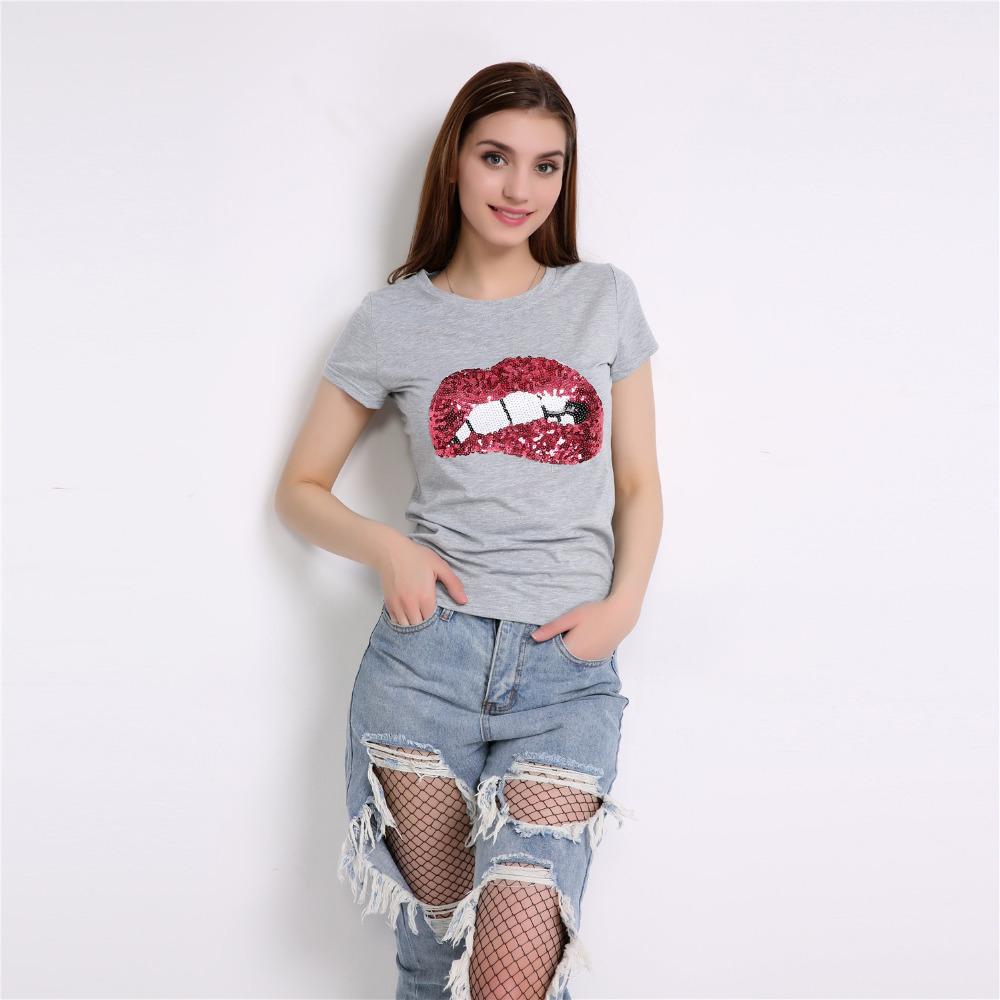 HTB1rLRhRpXXXXXRXFXXq6xXFXXXC - New Fashion for women summer short sleeve sequin red lips tshirt