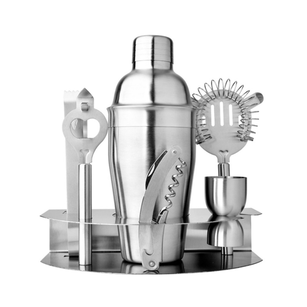 New 7 pcsset Stainless Steel Cocktail Shaker Mixer Measure Cup Set Easy to Cocktail Kit Snow Grams Cup Bar Tools Incorporating
