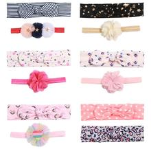 2pcs new Baby Headdress hair bow flower Headband Stripe ribbon Hair Band Headwrap DIY accessories for newborn toddler FD33