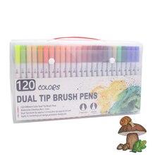 ブラシマーカーセット画材用48/60/100/120色ソフトブラシマーカーためデッサン絵画セット水彩画学校の