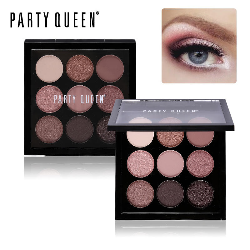 fashion Party Queen 9 Colors Artist Eyeshadow Palette Earth Color Shimmer Matte Nude Eye Shadow Pigments Glitter Smoky Makeup