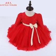 2f5df49f6b8 Top Quality Winter Red Lace Girls Dresses Plus Velvet Princess Flower Girl  Dresses Long Sleeve Baby