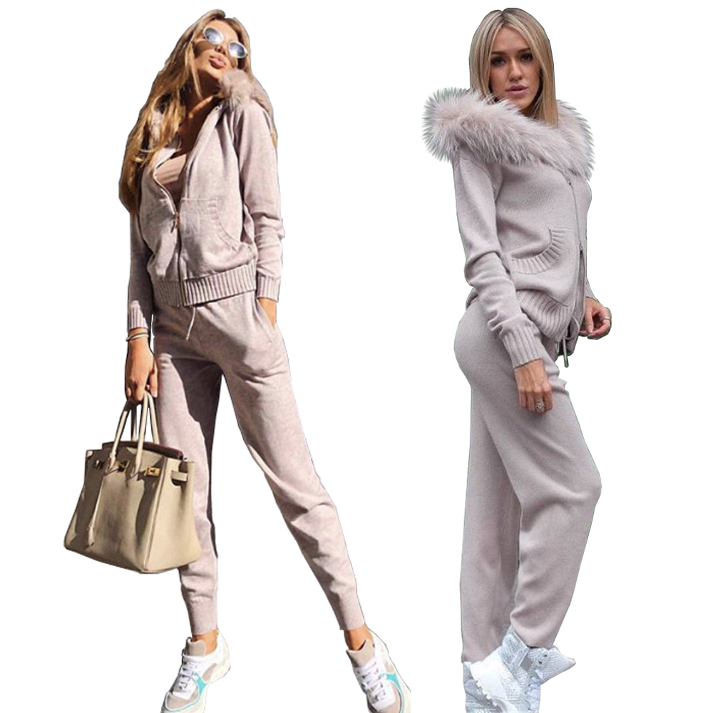Zipper Tracksuit Winter Knitted Suit for Women Sweater Set Pant  Womens Two Piece Sets Hooded