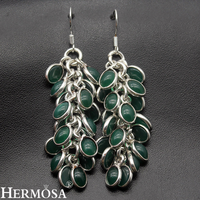 Green Chalcedony Dangle Exotic Jared Jewelry Pretty Women Sterling Silver Drop Earrings 66mm Ny423 Free Shipping