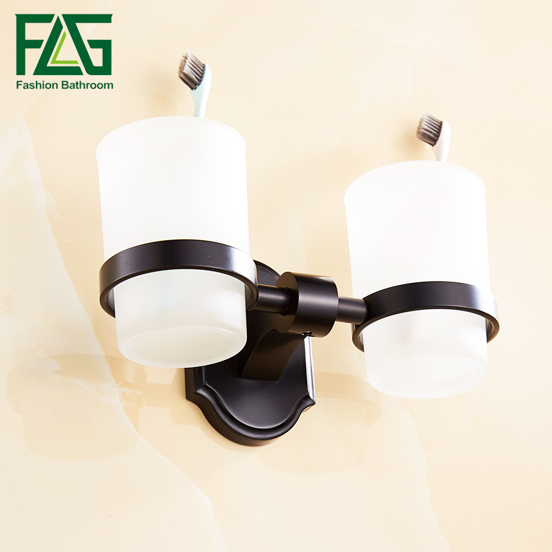 FLG Double Glass Cup Holder Wall Mounted Tooth Brush Tumbler Holder Black Finish Space Aluminum Bathroom Accessories flg bathroom accessories wall mounted tumbler holder cup