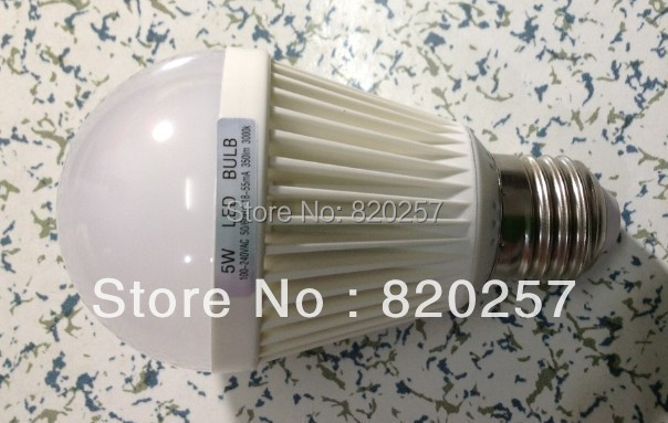 E27 5W smd led ball bulb AC100-240V white / warm white+free shipping by China air post mail