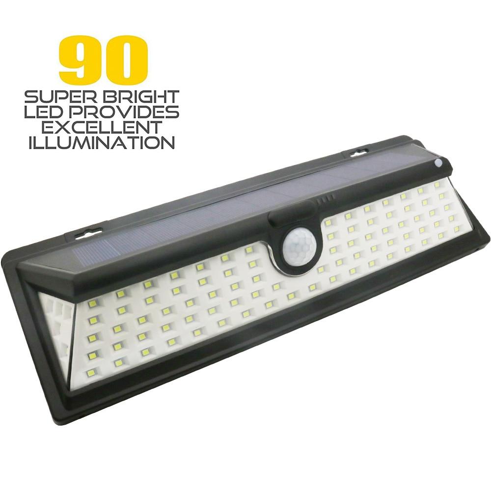 цена на IP65 Waterproof 34/54/66/90 LED Solar Light 2835 SMD Solar Power Outdoor Garden Lighting PIR Motion Sensor Pathway Wall Lamp